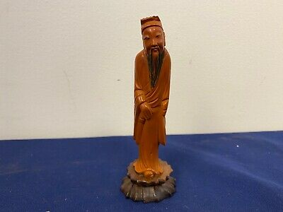 Antique Bakelite Oriental Statue with Walnut Base A6