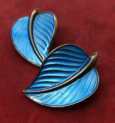 Vintage Sterling Silver Earrings 925s Hans Myhre Anchor Signed Enamel Leaf Clip