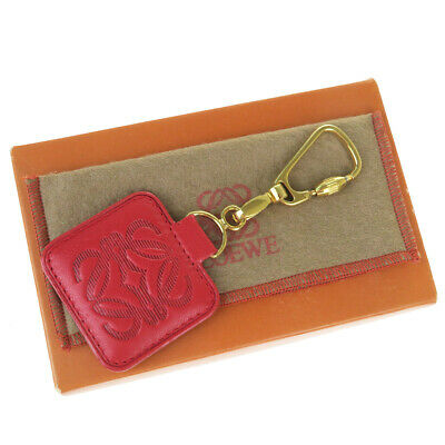 Auth Loewe Bag Charm Keyring (Gold,Red Color) 08FA924