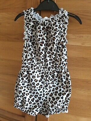 Girls H&M Leopard Print Playsuit 12/18 Month