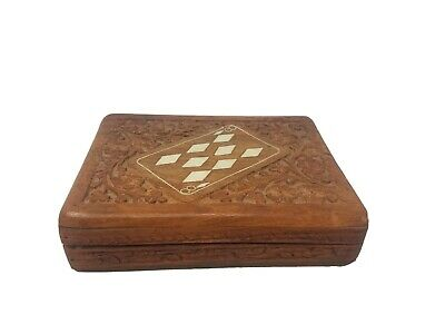Vintage Wood Hand Carved Playing Cards Box Case Holder Two Decks Wooden Inlay