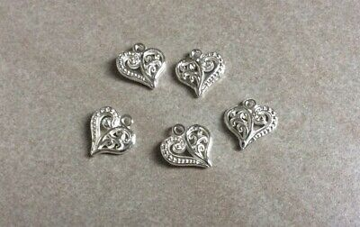Filigree Heart Charms, Silver Plate, 14x13mm, 5pcs, Jewellery Making, Gift