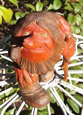 ANTON SVEEN!  Norway Hand Carved Wooden TROLL  Pipe & Cane +Masterfully Crafted+