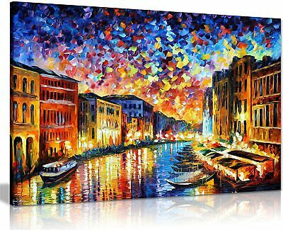 Venice Grand Canal by Leonid Afremov Canvas Wall Art Picture Print for Home Deco
