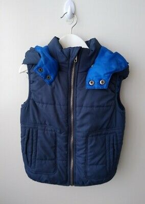 MILKSHAKE Boys Navy & Blue Hooded Puffa Vest - Size 4