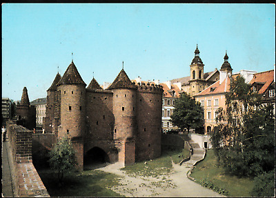 Poland Warsaw Old Town Fragment Barbakan moat Vintage Postcard