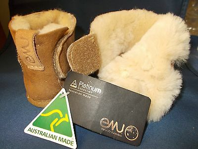 Baby Sheepskin Bootees  Emu Size Small Brown Color Australian Made
