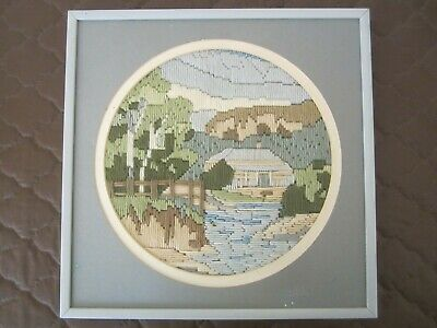 COMPLETED LONG STITCH-COUNTRY HOUSE/TREES DESIGN-APPROX 22 cm DIAMETER (FRAMED)