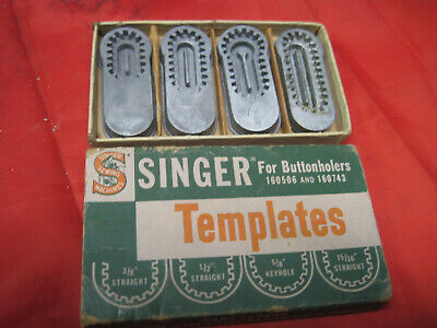 Singer Sewing Machine 4 Templates For Buttonholer 160506 160743 In Original Box