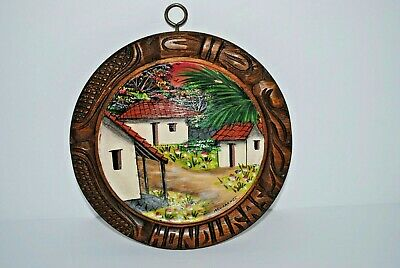 Vtg Hand Painted & Carved Wood Wall hanging Plaque Village Art Honduras