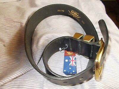 R M Williams Black Belt 30/76  Gold Buckle 444