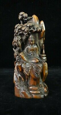"""Old Chinese Boxwood Hand Carving """"KwanYin"""" Buddha Wooden Statue Sculpture"""