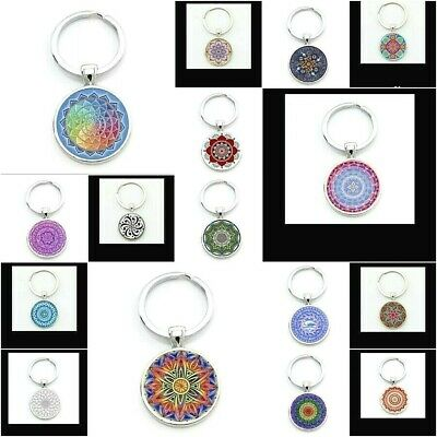 Mandala Flower of Life KEY CHAIN HOLDER Ring Cabochon