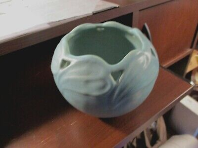 Antique 1920's Van Briggle Pottery Ming Blue/Turquoise Bowl/Planter w/Leaves