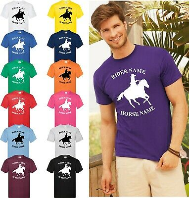 Personalised Horse Riding Printed Adults & Kids T-Shirt T Shirt Tee Unisex Tops
