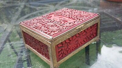 Vintage Chinese Deeply Carved Cinnabar,Copper And Brass Box