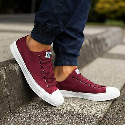 Converse Chuck Taylor II All Star 2 Ox Low Burgundy Womens Boys Girls SIZE 3 4 5
