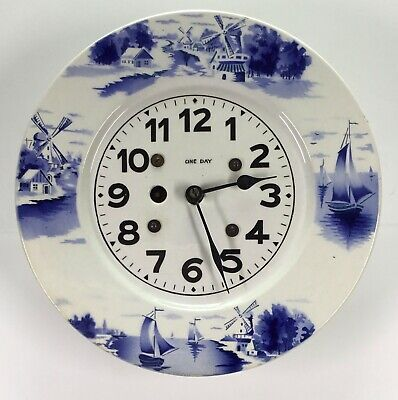 Delft Style Ceramic One Day Round Plate Clock - Germany