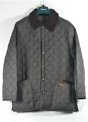 BARBOUR D360 LIDDESDALE JACKET Men's SMALL Quilted Nylon Shell Jacket Brown