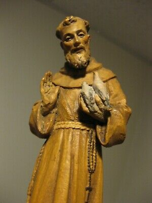 Vintage Carved Anri Wood Figure St. Francis Italy Religious Easter Holy Bird Man