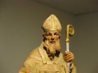 Vintage Carved Anri Wood Figure King Italy Religious Easter Holy Man Staff Bible