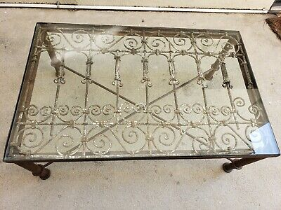 Antique Morroccan Wrought Iron Window Grill  Coffee Table
