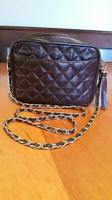 Whitney Green dark brown quilted leather crossbody purse. Gold chain link ..