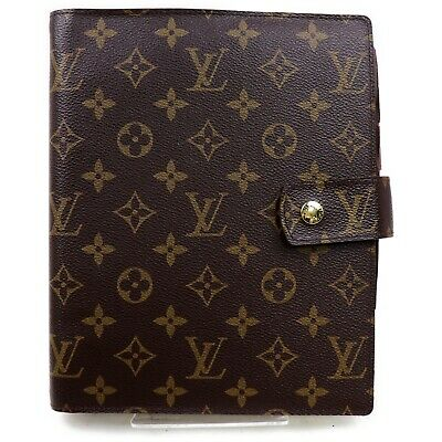 Authentic Louis Vuitton Diary Cover Agenda GM R20106 Browns Monogram 817733