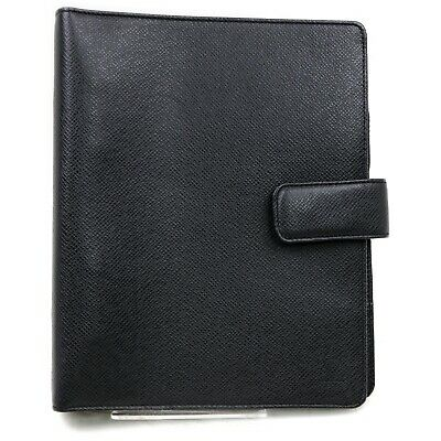 Authentic Louis Vuitton Diary Cover Agenda GM R20424 Black Taiga 902776