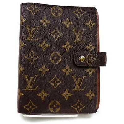 Authentic Louis Vuitton Diary Cover Agenda MM R20105 Browns Monogram 824699