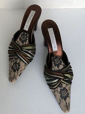 Olivia Rose Tal Brown Silk Ruching Bow Shoes Mules Kitten Heels Size 8