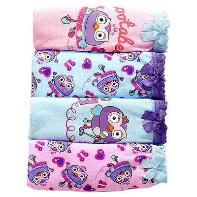 Hootabelle Giggle and Hoot 4 Pack ABC Kids Girl Briefs Undies Underwear Size 4-6