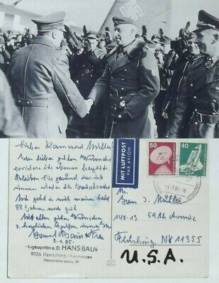 Hans Baur Adolf Private Pilot During World War II Signed Autograph Postcard