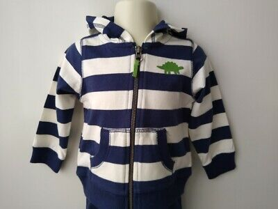 CARTER'S Boys Navy, White, Green Striped Dino Hoodie - Size 1 (BNWOT)