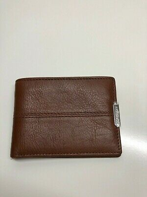 Oroton Mens Wallet Austere Mini One Fold Brown Leather Two Note Compartment