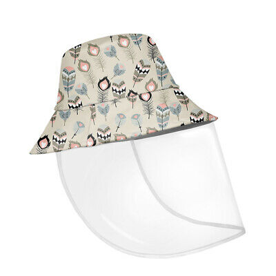 Feather Pattern Protective Bucket Hat Fisherman Cap with Removeable Face Shield