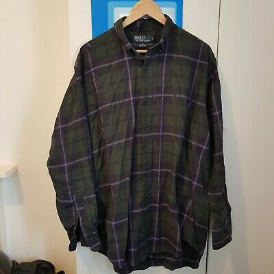 Polo Ralph Lauren Green And Purple Check Shirt Mens Large