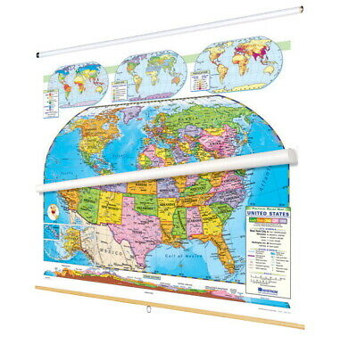 Nystrom Political Relief United States and World Map Set