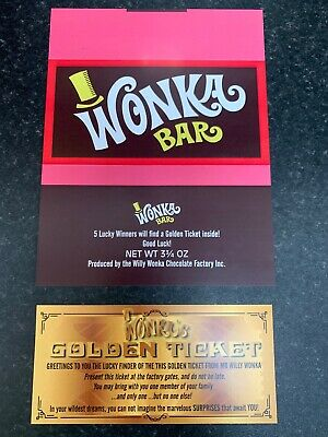 1 Willy Wonka Chocolate Bar Wrapper +1 Golden Ticket (chocolate not included)