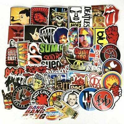 52 Rock Stickers Lot Heavy Metal Punk Band Music Guitar Car Music Decals Heavy