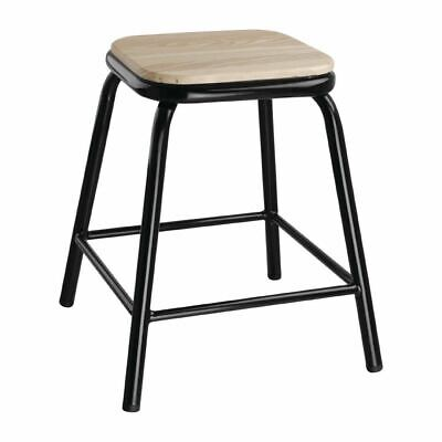 Bolero Cantina Low Stools in Black with Wooden Seat Pad - Pack of 4