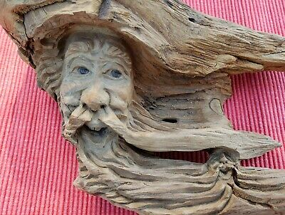 HandCarved Signed Wood Spirit Old Man Hobbit Tree Face Wizard Carving Sculpture