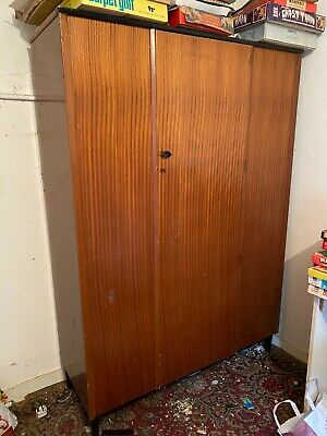 Wood Wardrobe Double Vintage Retro Wood  Antique Large Upcycle? Renovation