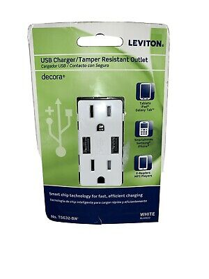 LEVITON USB Charger/ Tamper Resistant Outlet Decora T5632-BW White