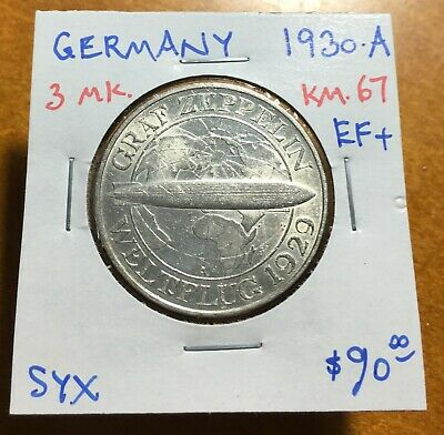 #3511 Germany 1930-A 3 Mark, Zeppelin, KM-67, Extremely Fine+