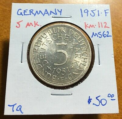 #3513 West Germany 1951-F 5 Mark, KM-112, Uncirculated