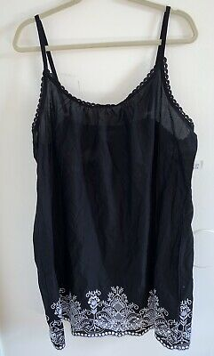 NWT Charter Club XL Sleeveless Black White Pointelle Trim Lounge Pajama Cami Top