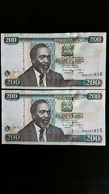 2008 Kenia bank notes 200 Shillings 2 Pieces uncirculated Concecutive Numbers