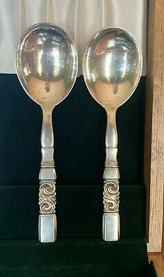 Georg Jensen Scroll Sterling Silver Serving Spoons (Sold Individually)