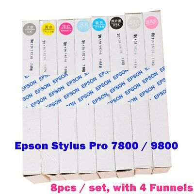 8pcs 400ml Epson Stylus Pro 7800 / 9800 Refilling Cartridge with 4 Funnels